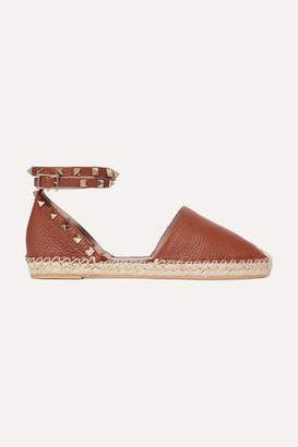 Valentino Garavani The Rockstud Double Textured-leather Espadrilles - Tan