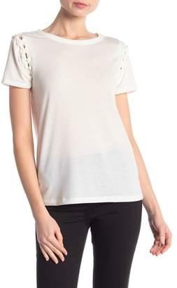 Poof Lace-Up Shoulder Short Sleeve Tee