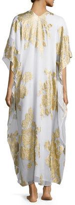 Marie France Van Damme Metallic Floral-Print Lined Boubou/Caftan $1,800 thestylecure.com