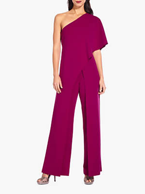 Adrianna Papell Petite Flutter One Shoulder Jumpsuit, Wildberry