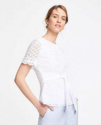 Ann Taylor Petite Belted Eyelet Top