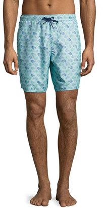 Zachary Prell Corkwood Foliage-Print Swim Trunks, Turquoise $158 thestylecure.com