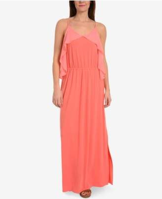 NY Collection Bell-Sleeve Cold-Shoulder Maxi Dress
