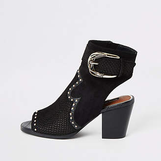 River Island Black western studded open toe shoe boot
