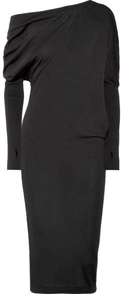 TOM FORD - One-shoulder Cashmere And Silk-blend Dress - Black