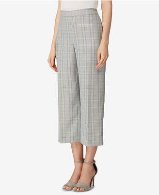 Tahari ASL Plaid Wide-Leg Crppped Pants, Regular & Petite