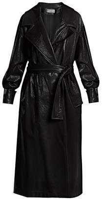 Wanda Nylon - Oversized Coated Trench Coat - Womens - Navy