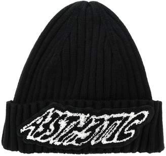 Diesel slogan embroidered beanie hat