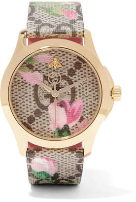 Gucci Printed Coated-canvas, Leather And Gold-tone Watch - Beige