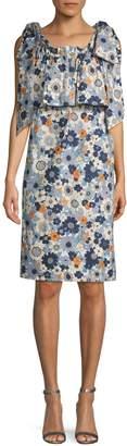 Chloé Floral Shoulder Tie Popover Dress