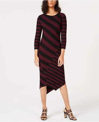 Bar III Striped Asymmetrical Sweater Dress