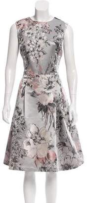 Carmen Marc Valvo Floral Jacquard Sleeveless Dress