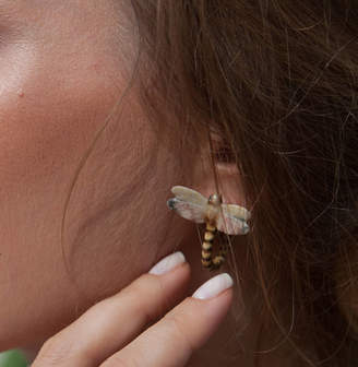 And Mary Natural Dragonfly Loop Tail Earrings