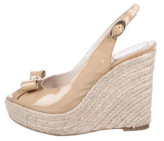 Christian Dior Patent Leather Bow Espadrilles