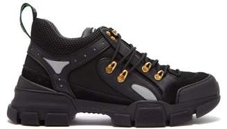Gucci Flashtrek Leather Trimmed Trainers - Womens - Black
