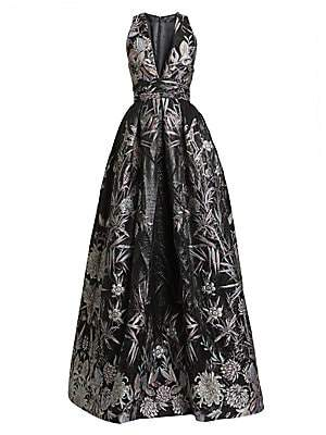 ZUHAIR MURAD Women's Japanese Garden V-Neck Ball Gown