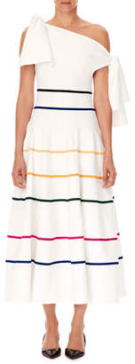 Carolina Herrera Off-the-Shoulder Striped-Knit A-Line Midi Dress