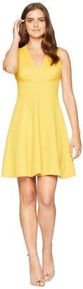 London Times Knit Pique V-Neck Fit Flare Dress Women's Dress