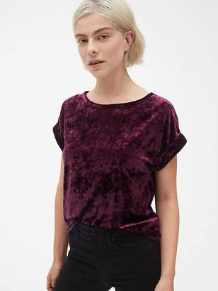 Gap Velvet Roll-Sleeve Top