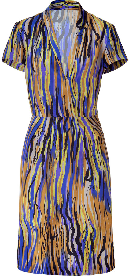 Etro Lemon/Royal Patterned Silk Dress
