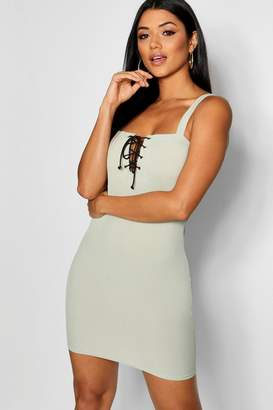 boohoo Lace Up Bodice Rib Bodycon Dress