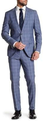 BOSS Novan Notch Collar Print Flat Front Pants 2-Piece Suit