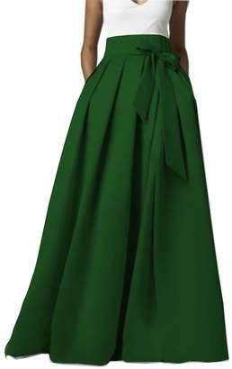 Omelas Womens Long Floor Length Pleated Skirt High Waisted Maxi Party Dress