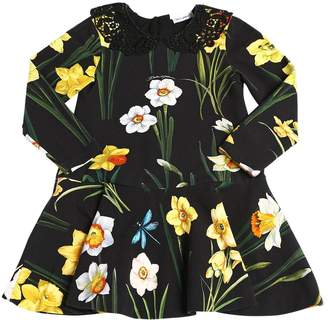 Dolce & Gabbana Floral Print Cotton Interlock Dress