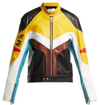 Marques Almeida Marques'almeida - Panelled Leather Biker Jacket - Womens - Multi