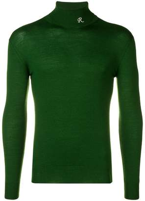 Raf Simons embroidered logo turtle neck sweater