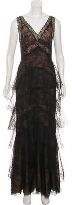 Marchesa Lace Sleeveless Maxi dress