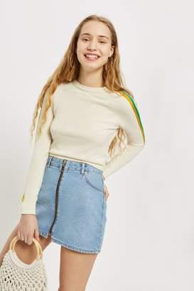 Topshop Womens Petite Zip Through Denim Skirt - Mid Stone