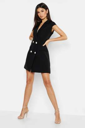 boohoo Woven Short Sleeve Double Breasted Blazer Dress