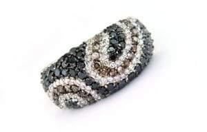 Effy Black Diamond, Brown Diamond, Diamond and 14K White Gold Ring