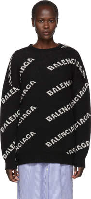 Balenciaga Black All Over Logo Crewneck Sweater