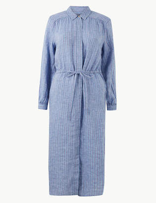 Marks and Spencer Pure Linen Striped Shirt Midi Dress