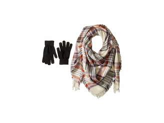 Steve Madden Classic Plaid Square Blanket Wrap with Etouch Glove Set