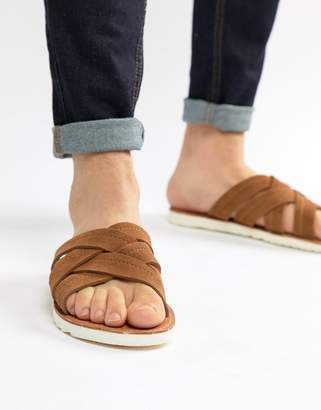 Asos DESIGN Sandals In Tan Suede With Cross Over Straps