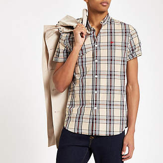 River Island Mens Beige check wasp embroidered shirt
