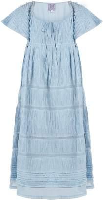 Thierry Colson Raffia ruched cotton-blend voile dress