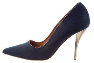 Lanvin Denim Pointed-Toe Pumps