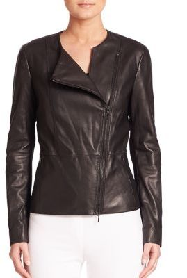 Elie Tahari Wilma Asymmetrical Zipper Leather Jacket $998 thestylecure.com