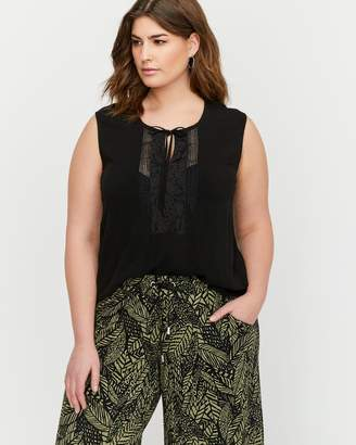 Michel Studio Sleeveless Blouse with Front Lace Details