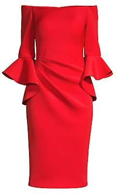 Jovani Women's Off-Shoulder Bell Sleeve Sheath Dress - Size 0