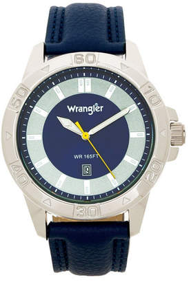 Wrangler Men Watch, 46MM Silver Colored Case with Embossed Arabic Numerals on Bezel, Blue Sunray Dial, Silver Index Markers, Analog, Blue Strap