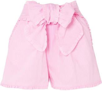 MSGM Ruffled Striped Cotton-blend Shorts - Pink