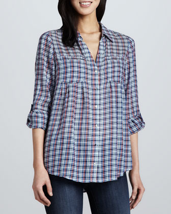 Joie Pinot Plaid Button-Front Blouse