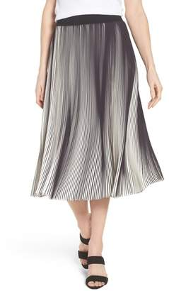 Ming Wang Stripe Pleat A-Line Skirt