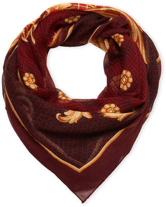 Versace Bordeaux & Gold Printed Shawl