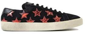 Saint Laurent Women's Black/red Suede Sneakers.